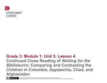 Grade 3 ELA Module 1, Unit 3, Lesson 4 - EngageNY
