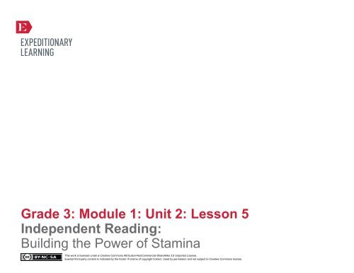 Grade 3 ELA Module 1, Unit 2, Lesson 5 - EngageNY