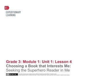 Grade 3 ELA Module 1, Unit 1, Lesson 4 - EngageNY