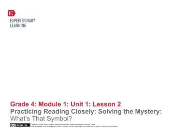 Grade 4 ELA Module 1, Unit 1, Lesson 2 - EngageNY