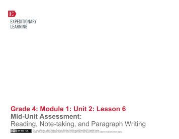 Grade 4 ELA Module 1, Unit 2, Lesson 6 - EngageNY