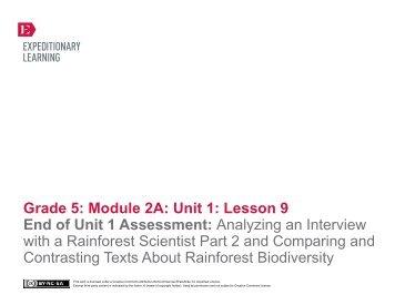 Grade 5 ELA Module 2A, Unit 1, Lesson 9 - EngageNY