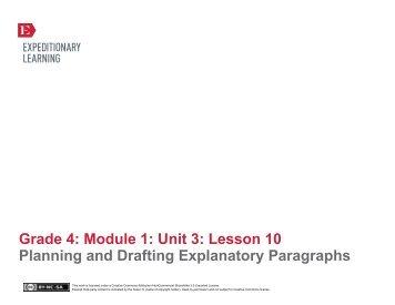 Grade 4 ELA Module 1, Unit 3, Lesson 10 - EngageNY