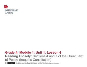 Grade 4 ELA Module 1, Unit 1, Lesson 4 - EngageNY