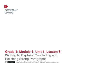 Grade 4 ELA Module 1, Unit 1, Lesson 8 - EngageNY