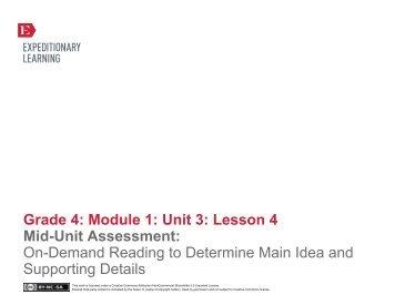 Grade 4 ELA Module 1, Unit 3, Lesson 4 - EngageNY