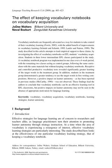 a study on writers experiences of vocabulary acquisition in school context methods of vocabulary acq Understanding vocabulary & vocabulary learning the acquisition of vocabulary at first sight seems straightforward we all know you need a large number of words to speak a language besides, just knowing the form of a word does not mean you can necessarily know the meaning of it in context.