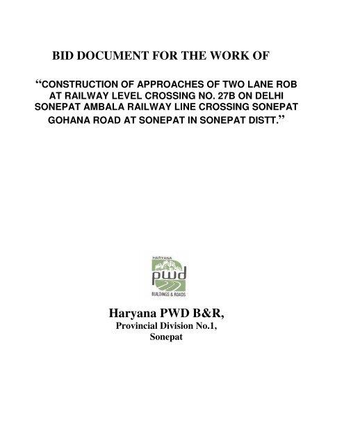 View Tender Document - Haryana PMGSY Tenders
