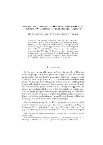 HOMOTOPY GROUPS OF SPHERES AND LIPSCHITZ HOMOTOPY ...