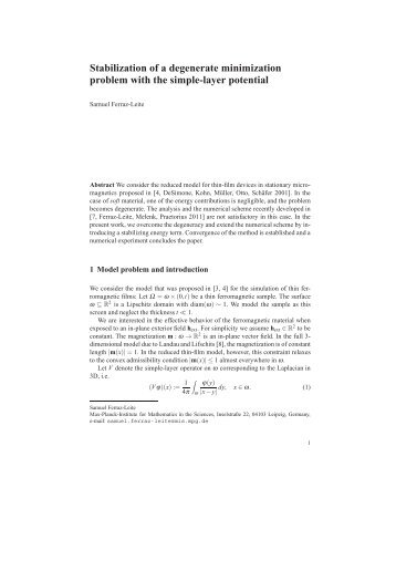 Stabilization of a degenerate minimization problem with the simple ...