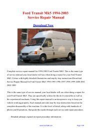 Download 1994-2003 Ford Transit Mk5 Workshop ... - Repair manual
