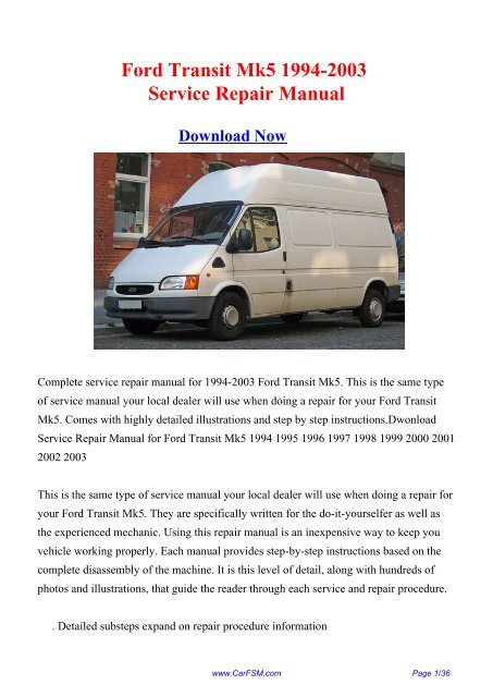 Download 1994 2003 Ford Transit Mk5 Workshop Repair Manual