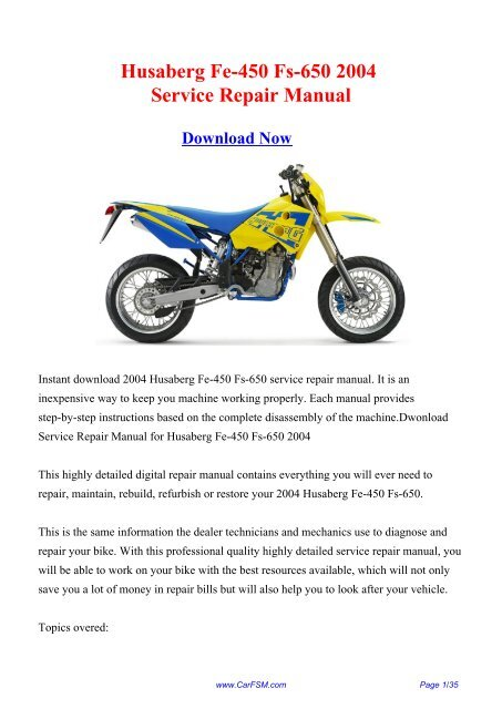 2004 Husaberg Fe 450 Fs 650 Factory Repair Manual Carfsm