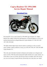 Cagiva Roadster 521 1994-2000 Factory Repair Manual - Carfsm