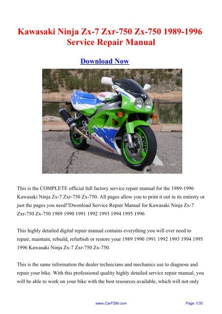 1989 1996 Kawasaki Ninja Zx 7 Zxr 750 Zx 750 Repair Manual