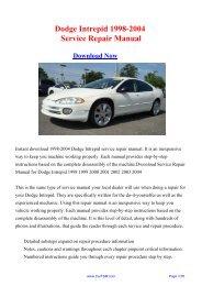 1998-2004 Dodge Intrepid Workshop Manual - Repair manual