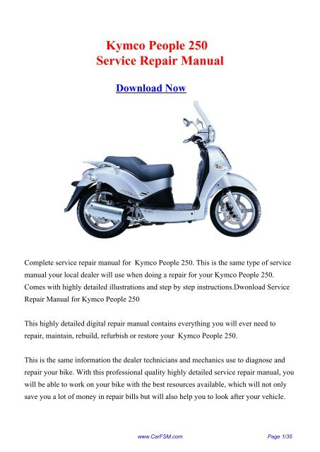Download Kymco People 250 Service Repair Manual