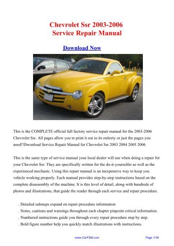 2003 2006 chevrolet ssr workshop manual repair manual rh yumpu com Factory Service Repair Manual Manufacturers Auto Repair Service Manuals