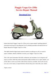 Download Piaggio Vespa Gtv-250ie Workshop ... - Repair manual
