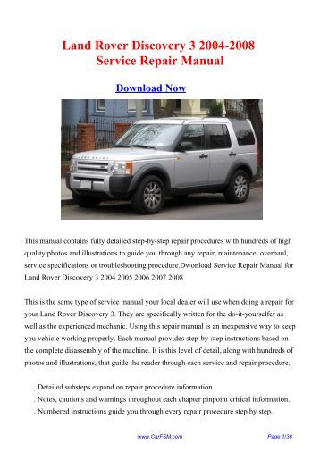 land rover workshop manual discovery 3