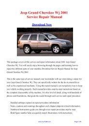 2001 Jeep Grand Cherokee Wj Workshop Manual - Repair manual