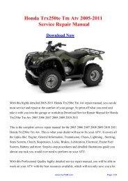 2005-2011 Honda Trx250te Tm Atv Service Repair Manual - Carfsm