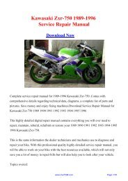 1989 1996 Kawasaki Ninja Zx 7 Zxr 750 Zx 750 Repair Manual
