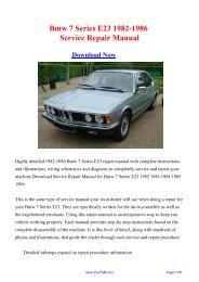 1982-1986 Bmw 7 Series E23 Workshop Manual - Repair manual