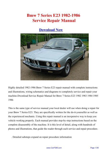 1982 1986 Bmw 7 Series E23 Workshop Manual Repair Manual