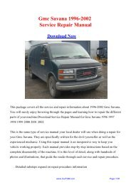 Download Gmc Savana 1996-2002 Workshop ... - Repair manual