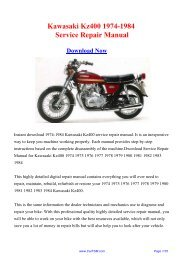 1974-1984 Kawasaki Kz400 Factory Repair Manual