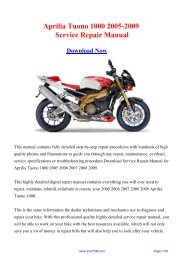 2005-2009 Aprilia Tuono 1000 Service Repair Manual - Carfsm
