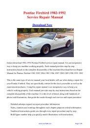Pontiac Firebird 1982-1992 Workshop Manual - Repair manual