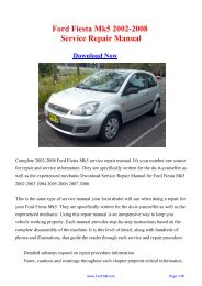 Download Ford Fiesta Mk5 2002-2008 Factory Repair ... - Carfsm