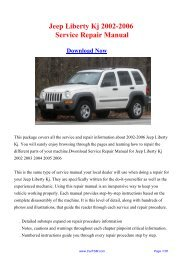 Jeep Liberty Kj 2002-2006 Workshop Manual - Repair manual