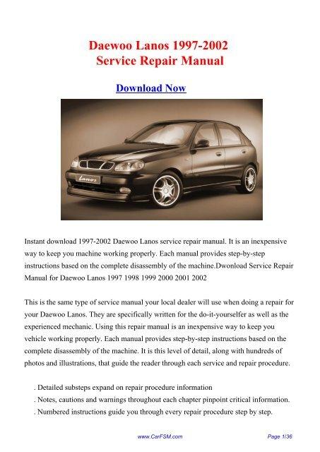 daewoo lanos 1997 1998 1999 2000 2001 2002 workshop manual
