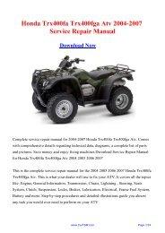 2004-2007 Honda Trx400fa Trx400fga Atv Service Repair ... - Carfsm