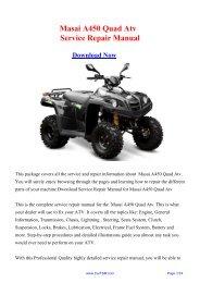 Masai A450 Quad Atv Workshop Manual - Repair manual