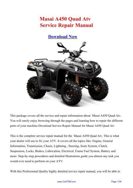 download masai a450 a 450 quad atv service repair workshop manual