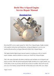 Derbi 50cc 6-Speed Engine Workshop Manual - Repair manual
