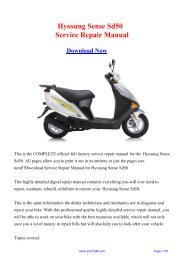 Download Hyosung Sense Sd50 Workshop Manual - Repair manual