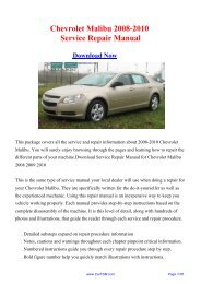 Download Chevrolet Malibu 2008-2010 Factory Repair ... - Carfsm