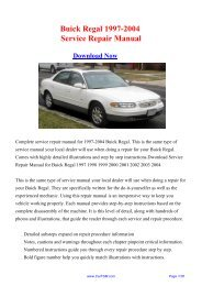 1997-2004 Buick Regal Service Repair Manual