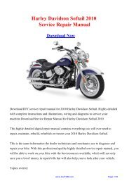 2010 Harley Davidson Softail Factory Repair Manual