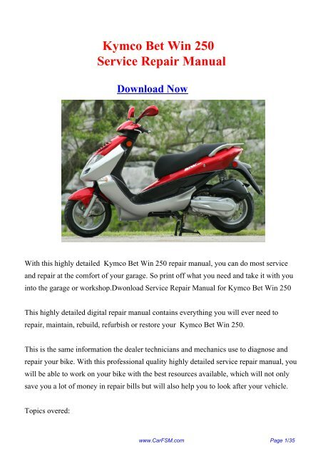 Kymco Bet Win 250 Workshop Manual Repair Manual