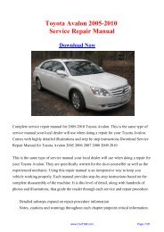 Download Toyota Avalon 2005-2010 Workshop ... - Repair manual