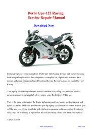 Derbi Gpr-125 Racing Service Repair Manual