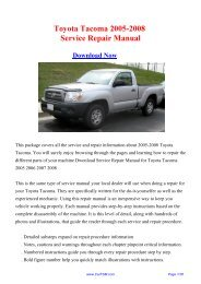 Toyota Tacoma 2005-2008 Service Repair Manual