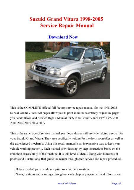 suzuki grand vitara 1998 workshop service repair manual