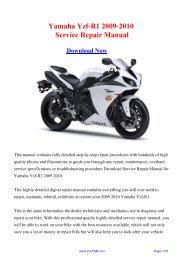 2009-2010 Yamaha Yzf-R1 Service Repair Manual - Carfsm